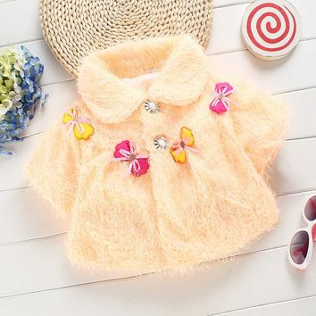 cute cotton sweater fur fall winter clothing for infant baby girl coat