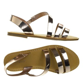 Coastline17s Rose Gold By Bamboo, Women's Open Toe Flat Gladiator Strappy Sandal w Elastic Straps