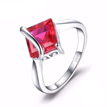 Classic 3.32ct  Created Ruby, 925 Sterling Silver, Square Ring For Women