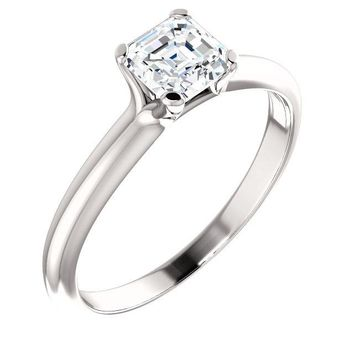 14K White Gold 3/8 CT Square Princess Diamond Engagement Ring