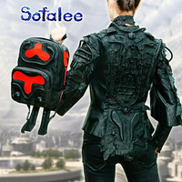 Red Black Leather Backpack, Women's Backpack, Genuine Leather Backpack, Travel Backpack, School Backpack, Medium Size. In Stock! BP53