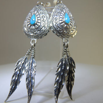 Turquoise Sterling Silver Native American Feather Dangle Earrings PV
