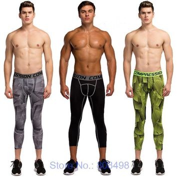 Mens compression 3/4 pants jogger tights fitness pants skinny leggings trousers