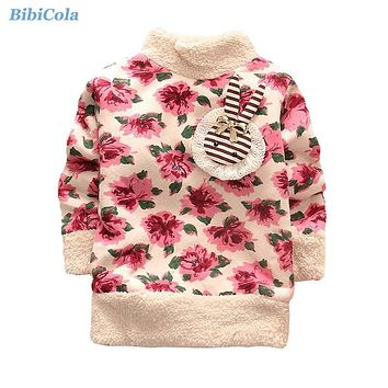 Baby Girls Autumn Winter Sweaters Children Thick Warm Velvet Outerwear Kids Girl Floral Sweater Baby Christmas Clothing