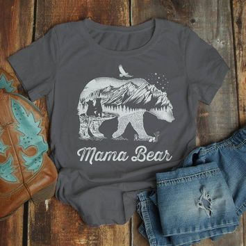 Women's Mama Bear T Shirt Mom T Shirts Hipster Double Exposure Camping Shirts