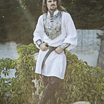 DISCOUNTED PRICE! Wedding Medieval Mens Tunic with Brocade Accents