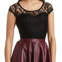 SWEETHEART CAP SLEEVE LACE TOP