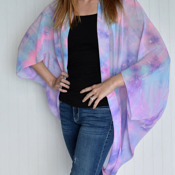 Ladies bandana kimono, Ladies kimono cocoon Jacket, Swim suit cover up, Pink purple and blue tie dye kimono, fashion kimono, yoga apparel