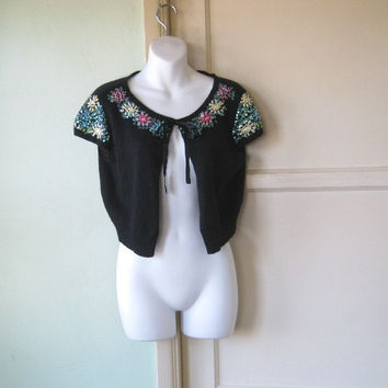 Sequin Embellished Black Cardigan - Short Sleeve Black Angora Blend Cardi - Small-Medium Folkloric Cardigan - Black Sweater/ Shrug; Medium