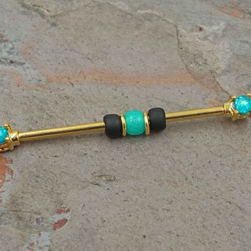 Teal Opal 14kt Gold Industrial Barbell