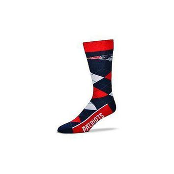 NFL New England Patriots Argyle Unisex Crew Cut Socks - One Size Fits Most