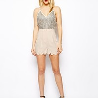 ASOS Soft Shorts With Scallop Hem - Nude