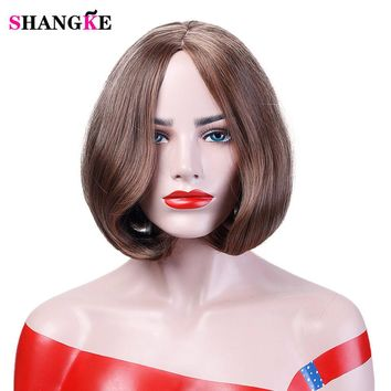 12'' Brown Bob Wig Short Synthetic Wigs For African Americans Heat Resistant Straight Hair Costume Cos-play Wigs SHANGKE