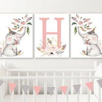 Floral ELEPHANT Girl Nursery Wall Art, Watercolor Girl Elephant Canvas or Prints Watercolor Baby Girl Elephant Wall Decor, Set of 3 Artwork