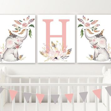 Floral ELEPHANT Girl Nursery Wall Art, Watercolor Girl Elephant Canvas or Prints, Watercolor Baby Girl Elephant Wall Decor, Set of 3 Artwork