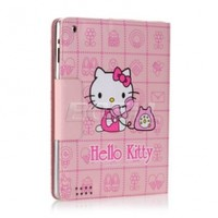 Ecell - PINK PHONE HELLO KITTY LEATHER CASE & STAND FOR iPAD 2
