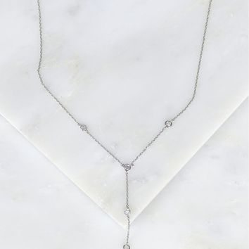 Crystal Stone Drop Necklace Silver