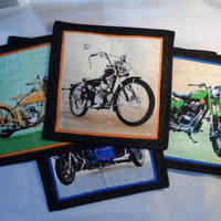 Motorcycle quilted table mats - Quilted place mats Set of four - Bike Table mats - Dinner Mats design - Patchwork Dinner Mats