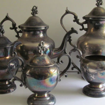 6pc RARE AND FABULOUS Antique Victorian Silver Teapot Set Victorian Tea Party Silver Copper Tea Pot Set Silver Sugar and Creamer Spooner
