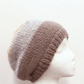 Knit beanie hat,warm beanie hat, brown,gray,tan, hand knitted   4748