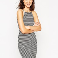 ASOS 90s High Neck Mini Bodycon Dress in Stripe