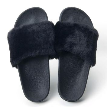 Fur Slides Slippers Flip Flops Shoes Women