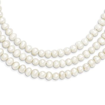 Sterling Silver Triple Strand White Freshwater Cultured Pearl Necklace