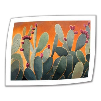 Art Wall Cactus Orange 40 by 52-Inch Unwrapped Canvas Art by Rick Kersten with 2-Inch Accent Border