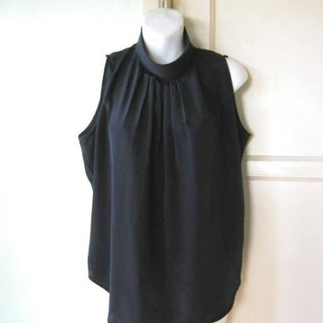 Sleeveless Black Shell w/ High Neck; Women's Medium Black Mock Turtleneck Top for Work/Dates/Social; U.S. Shipping Included