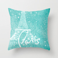 Paris in Aqua Throw Pillow by Veronica Ventress | Society6