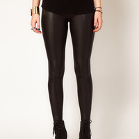 Hearts & Bows Leather Look Seamed Leggings at asos.com