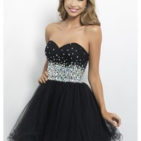 A Line Sweetheart Beading Sequin Short/Mini Tulle Homecoming Dress