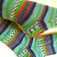 Teenager gift, warm socks, handmade gift, rib knit socks, gift socks, striped wool socks, knit house socks, hand knit cozy socks, birthday