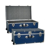 Storage Trunk Chest Box Wheeled Cargo Locker Wood Metal Portable Black Blue