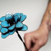 Turquoise Metal Flower Stemmed Bohemian Decor Barbed Wire 3d Art Sculpture Industrial Home