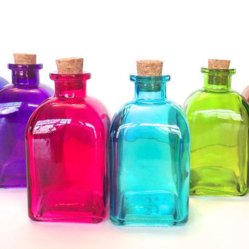 6 colored bottles 250ml glass from trio3 on etsy for Colored glass bottles with corks