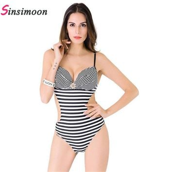 Women Striped Swimsuit Female Backles Swimwear One piece Bathing suit Anchor Hard cup Bodysuit Thong