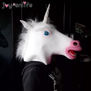 JOY-ENLIFE 1pcs Funny Scary Unicorn Head Latex Rubber Face Mask Adult Party Masks Creepy Christmas Costume Prop Cosplay