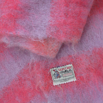 Scottish Pink Stripe Vintage Mohair Scarf - Glen Cree Mills Ltd - Mohair Shawl - Mohair Wrap - Mohair Pashmina - Mohair Scarf - Fluffy Scarf