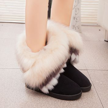 Faux Suede Fur Women Ladies Winter Flat Snow Ankle Boots Warm