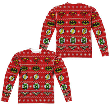 Justice League Ugly Holiday Sweater Mens Long Sleeve T-Shirt