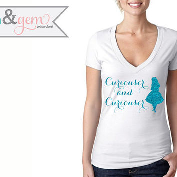 "Disney's Alice in Wonderland Silhouette V-Neck // ""Curiouser & Curiouser"" // Disney Lover Shirt // Disney's Alice Shirt"
