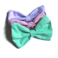 Three Pack Soft Pastel Colored Hair Bows, Grunge Goth Lolita Hipster Boho Tumblr