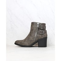 one more dance - faux leather ankle bootie with buckle detail - grey