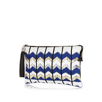 River Island Womens Blue zig zag embroidered clutch bag
