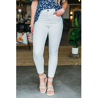 Grace & Lace White Non-Distressed Ankle Jeggings - White