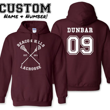 Dunbar 09 Teen Wolf Hoodie Beacon Hills Lacrosse Hoodie All Names Available or Custom Name & Number