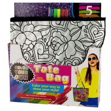 Color Your Own Quilted Fashion Tote Bag With Markers (pack of 2)