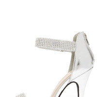 Bling on the Night Silver Rhinestone Ankle Strap Heels