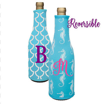 Wine Bottle Cover / Insulated Coozie ~ Personalized, Custom, Monogram ~ Reversible ~ Seahorse ~ Nautical